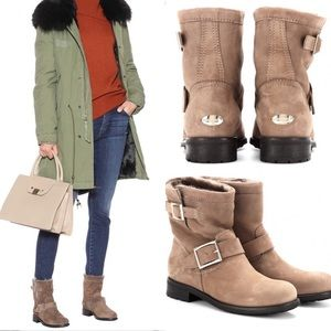 Jimmy Choo // Suede Biker Boots with Shearling